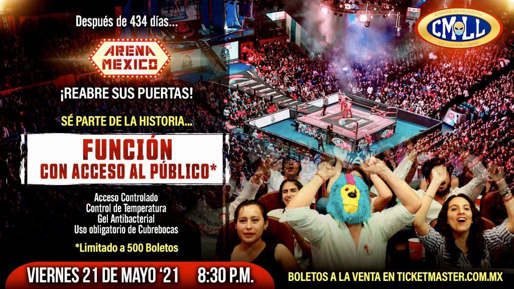 La Arena México tendrá su primera función con público después de 434 días